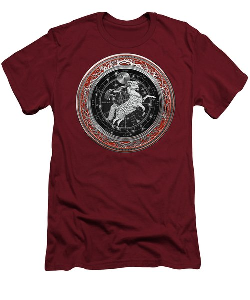 Western Zodiac - Silver Aries -the Ram On Red Velvet Men's T-Shirt (Athletic Fit)