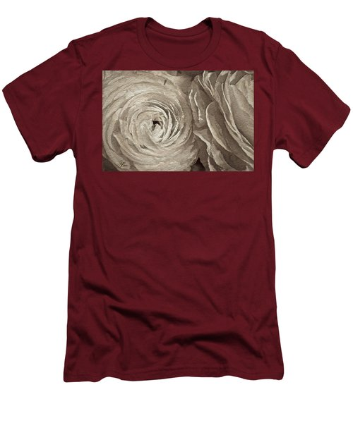 Men's T-Shirt (Athletic Fit) featuring the painting White On White Rose by Joan Reese