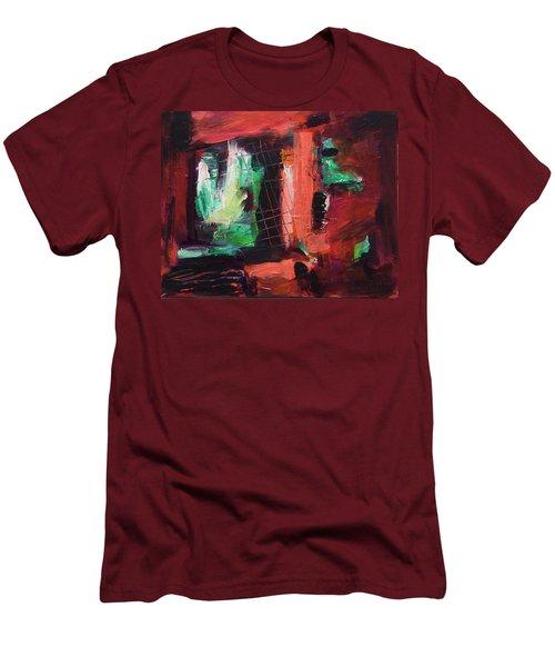 Window Original Acrylic Painting Men's T-Shirt (Slim Fit) by Yulia Kazansky