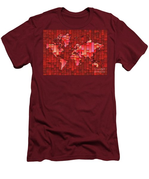 World Map Glasa Red Men's T-Shirt (Athletic Fit)
