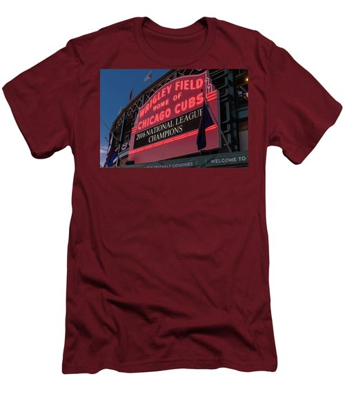 Wrigley Field Marquee Cubs National League Champs 2016 Men's T-Shirt (Slim Fit) by Steve Gadomski