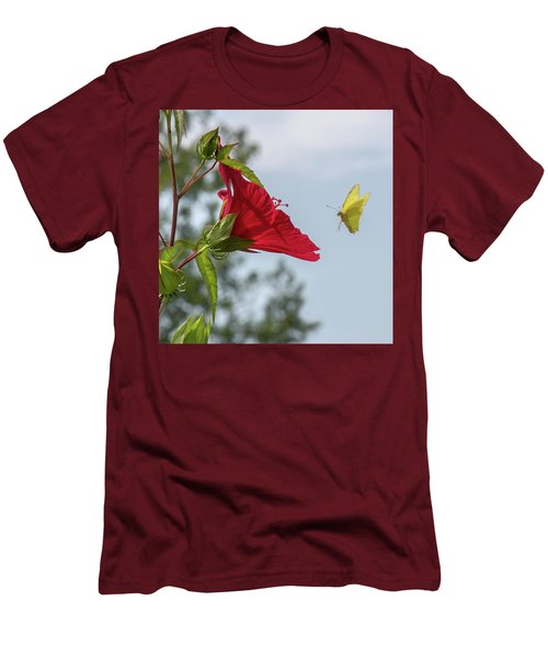 Yellow Butterfly Art Men's T-Shirt (Athletic Fit)