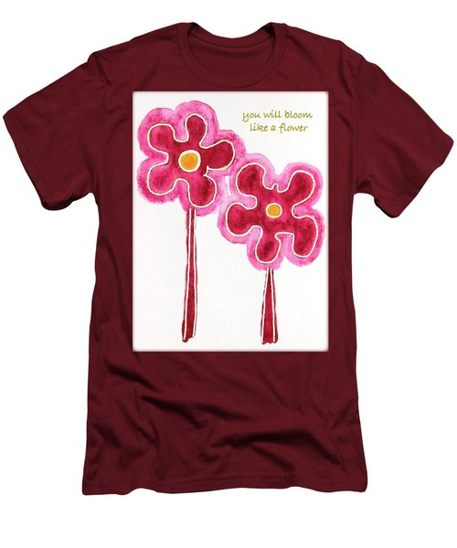 Men's T-Shirt (Slim Fit) featuring the drawing You Will Bloom Like A Flower by Frank Tschakert