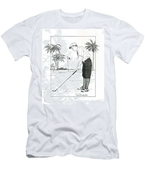Men's T-Shirt (Slim Fit) featuring the drawing  1920's Vintage Golfer by Ira Shander