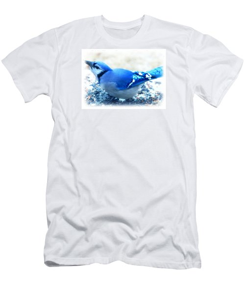 Bright Blue Jay  Men's T-Shirt (Slim Fit) by Peggy Franz