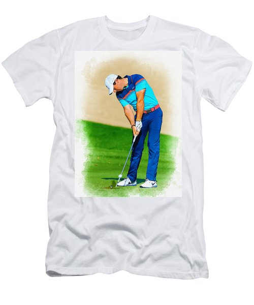 Rory Mcilroy Plays His Second Shot On The Par 4 Men's T-Shirt (Athletic Fit)