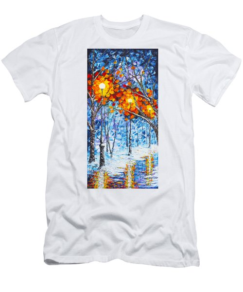 Men's T-Shirt (Athletic Fit) featuring the painting  Silence Winter Night Light Reflections Original Palette Knife Painting by Georgeta Blanaru