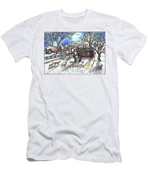 Wyoming Winter Street Scene Men's T-Shirt (Slim Fit) by Dawn Senior-Trask
