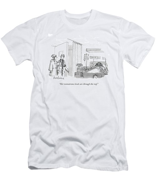 A Caveman Is Seen Lying In A Hospital Bed Men's T-Shirt (Athletic Fit)