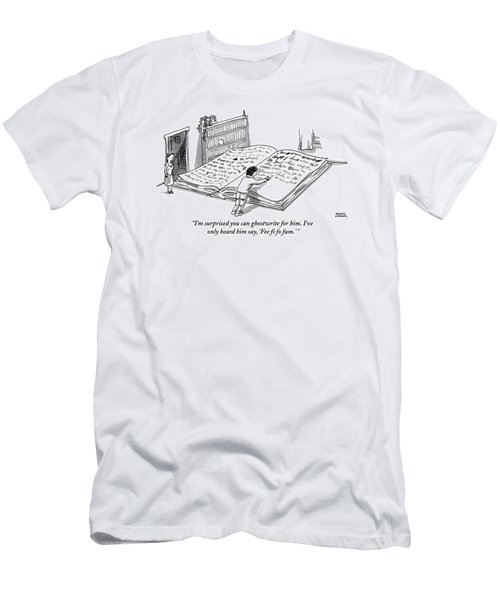 A Man Is Writing In A Huge Book On The Floor Men's T-Shirt (Athletic Fit)