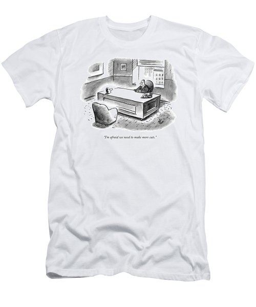 An Executive Sits At His Desk And An Employee's Men's T-Shirt (Athletic Fit)