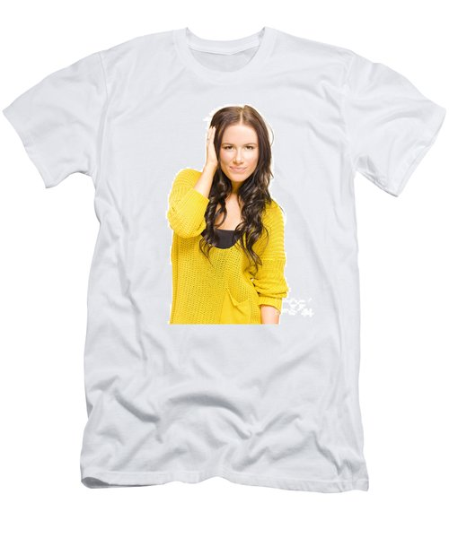 Attractive Brunette Woman With Fresh New Haircut Men's T-Shirt (Athletic Fit)