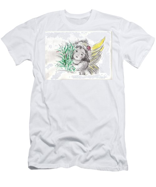 Christmas Angel Men's T-Shirt (Slim Fit) by Laurie L