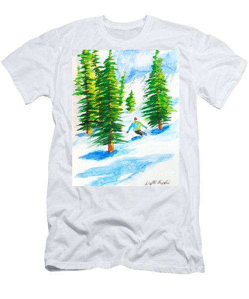 David Skiing The Trees  Men's T-Shirt (Athletic Fit)