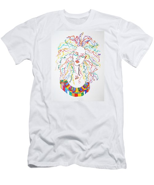 Men's T-Shirt (Slim Fit) featuring the painting Dreadlocks Piano Goddess by Stormm Bradshaw