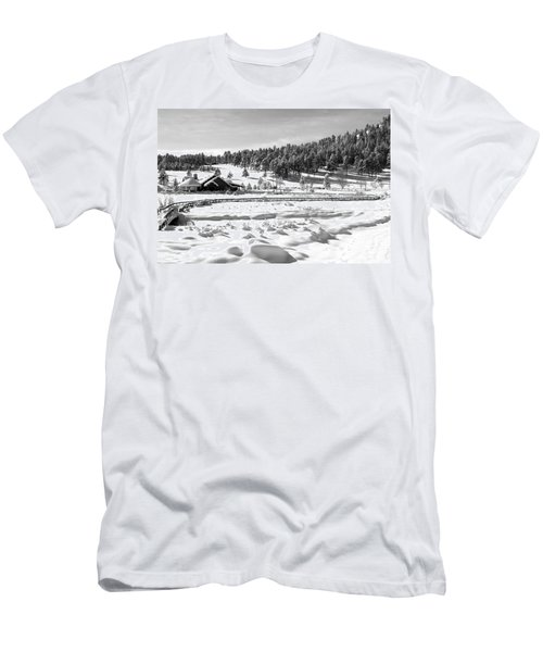 Men's T-Shirt (Slim Fit) featuring the photograph Evergreen Lake House Winter by Ron White