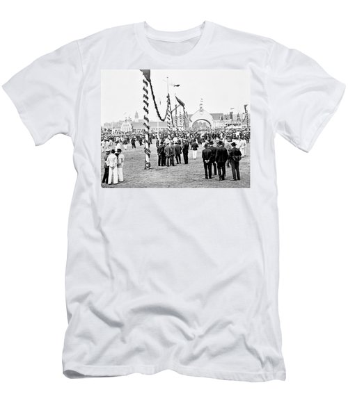 Men's T-Shirt (Slim Fit) featuring the photograph Festival Place Millerntor Hamburg Germany 1903 by A Gurmankin