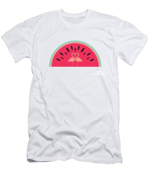 Flamingo Watermelon Men's T-Shirt (Slim Fit) by Susan Claire
