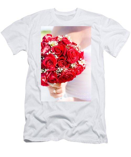 Floral Rose Boquet Held By Bride Men's T-Shirt (Athletic Fit)