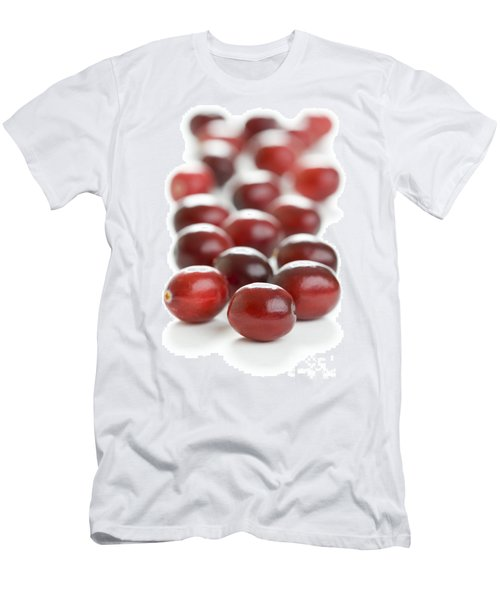 Men's T-Shirt (Slim Fit) featuring the photograph Fresh Cranberries Isolated by Lee Avison