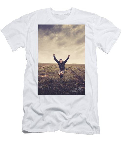 Holiday Man Jumping On Rural Australia Landscape Men's T-Shirt (Athletic Fit)