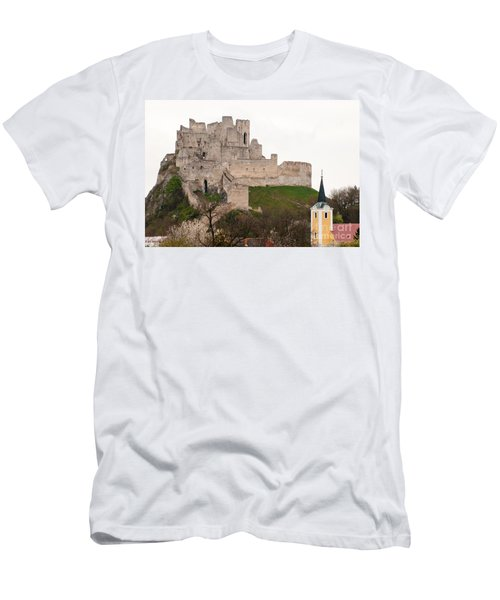 Men's T-Shirt (Slim Fit) featuring the photograph Hrad Beckov - Castle by Les Palenik