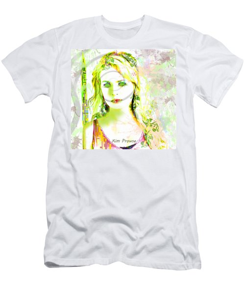 Men's T-Shirt (Slim Fit) featuring the digital art Lily Lime by Kim Prowse