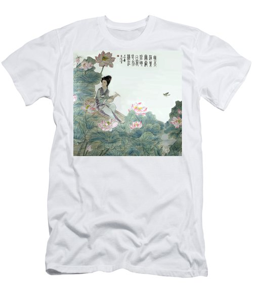 Men's T-Shirt (Slim Fit) featuring the photograph Lotus Pond by Yufeng Wang