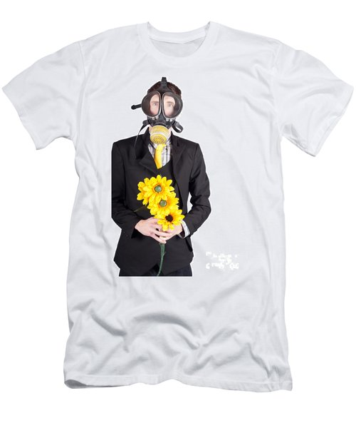 Man In Gas Mask With Flowers Men's T-Shirt (Athletic Fit)