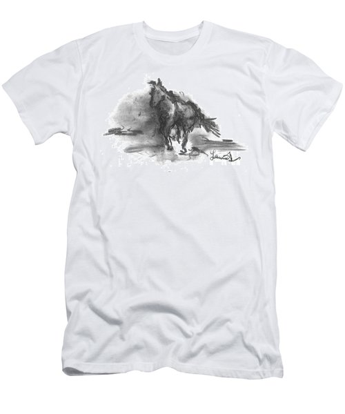 Men's T-Shirt (Athletic Fit) featuring the drawing My Stallion by Laurie Lundquist