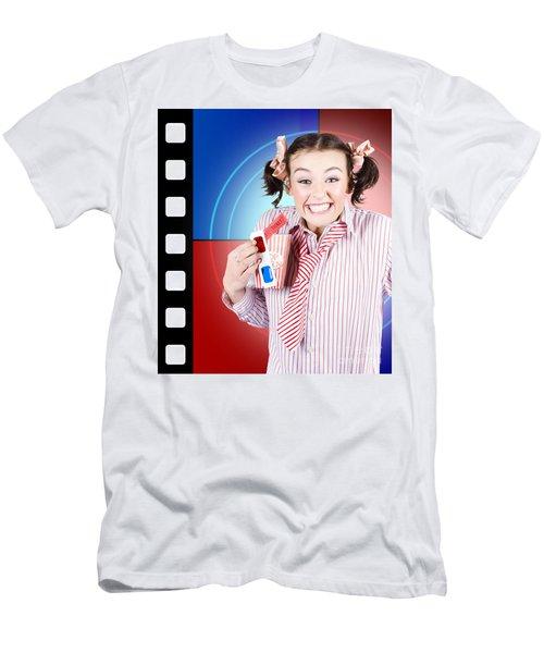 Overjoyed Nerd Woman At 3d Movie Premier Men's T-Shirt (Athletic Fit)