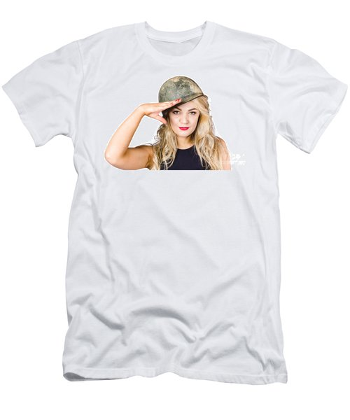 Pinup Beauty Saluting To A Mission Accomplished Men's T-Shirt (Athletic Fit)