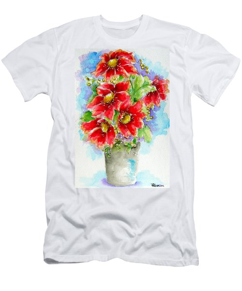 Men's T-Shirt (Slim Fit) featuring the painting Red Flowers by Patrice Torrillo
