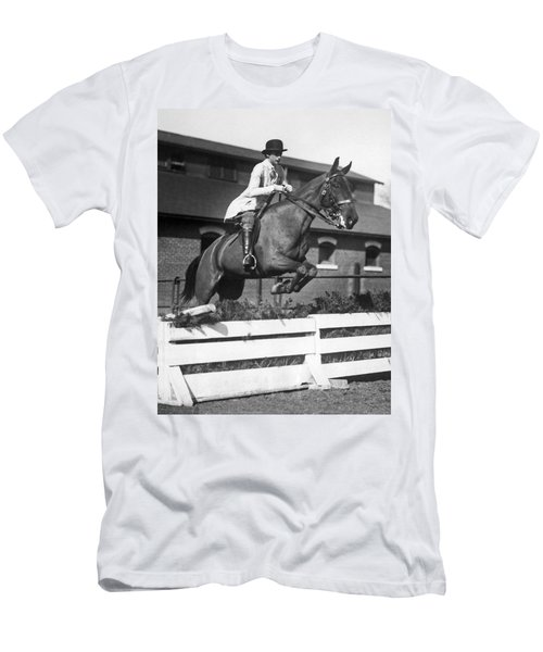 Rider Jumps At Horse Show Men's T-Shirt (Athletic Fit)