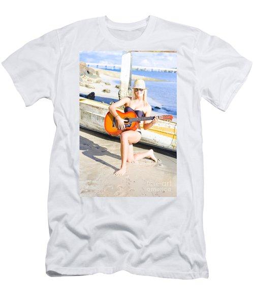 Smiling Girl Strumming Guitar At Tropical Beach Men's T-Shirt (Athletic Fit)