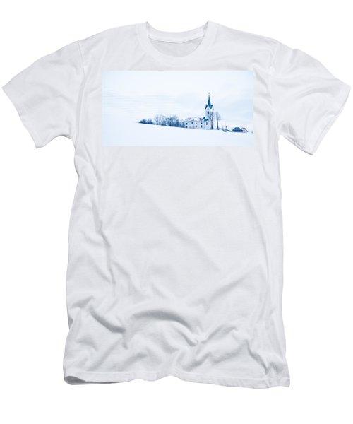 Snowy Church Men's T-Shirt (Athletic Fit)
