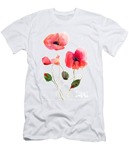 Stylized Poppy Flowers Illustration Men's T-Shirt (Athletic Fit)