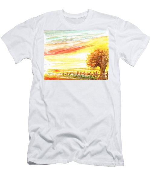 Men's T-Shirt (Slim Fit) featuring the painting Sunset by Teresa White