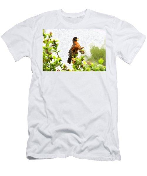 The Robin Sings Men's T-Shirt (Slim Fit) by John Freidenberg