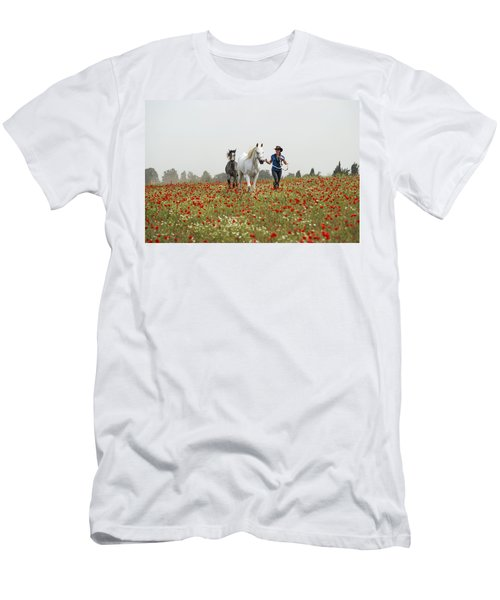 Three At The Poppies' Field... 3 Men's T-Shirt (Slim Fit) by Dubi Roman