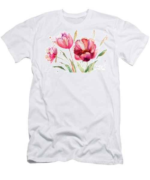 Three Tulips Flowers  Men's T-Shirt (Athletic Fit)