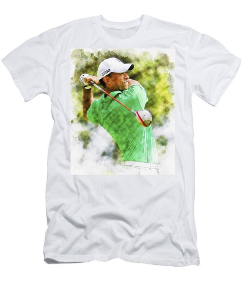 Tiger Woods Hits A Drive  Men's T-Shirt (Athletic Fit)
