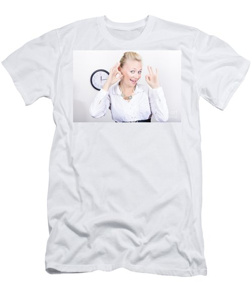 Time Management Woman Showing Ok When On Schedule Men's T-Shirt (Athletic Fit)