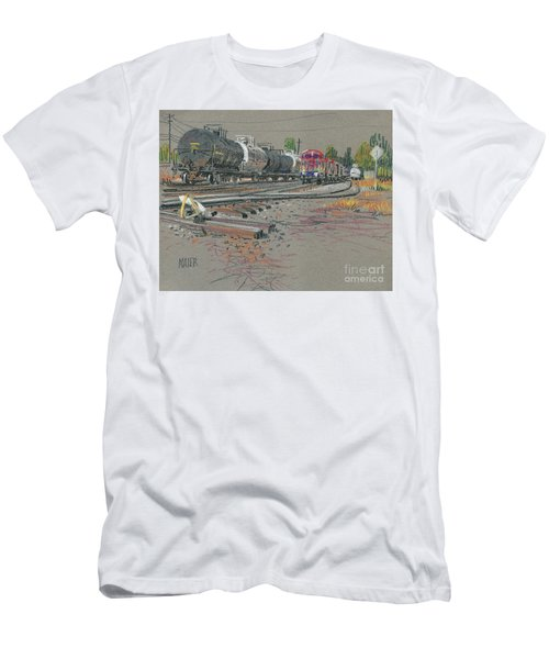 Men's T-Shirt (Slim Fit) featuring the drawing Train's Coming by Donald Maier