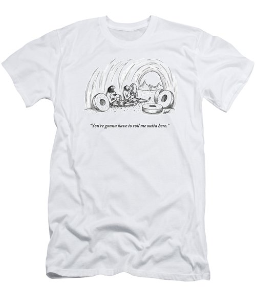 Two Cavemen Sit In A Cave Surrounded By Stone Men's T-Shirt (Athletic Fit)