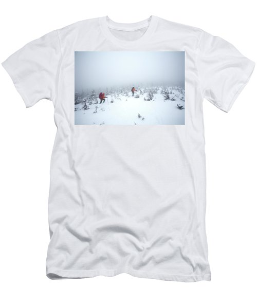Two Men Hiking In The Snow On Mt Men's T-Shirt (Athletic Fit)