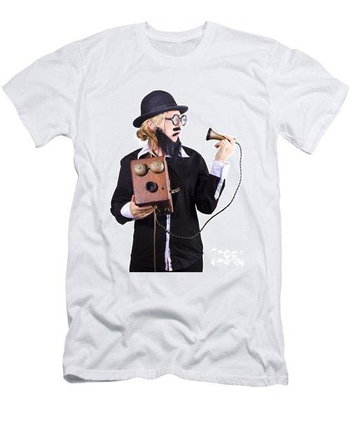 Woman Holding Antique Telephone Men's T-Shirt (Athletic Fit)