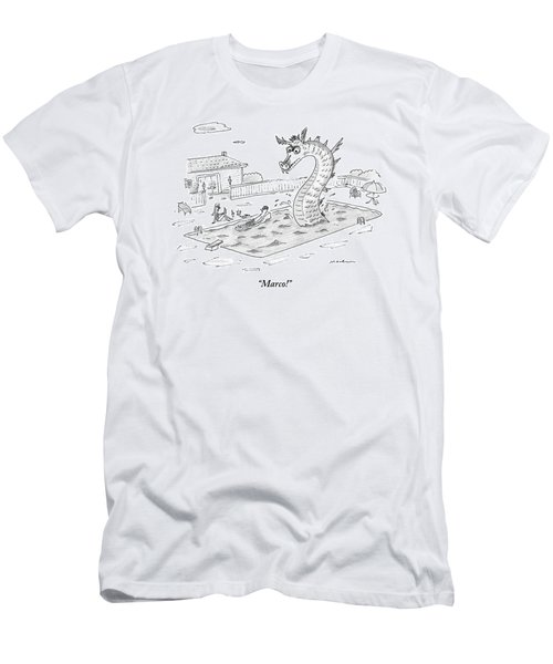 Woman Speaks To Man In A Pool With The Lochness Men's T-Shirt (Athletic Fit)