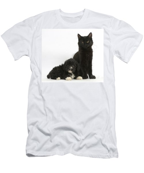 Kitten And Puppy Men's T-Shirt (Athletic Fit)