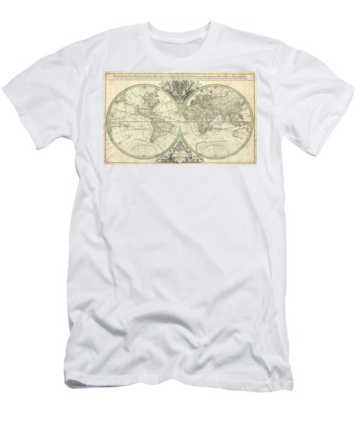 1691 Sanson Map Of The World On Hemisphere Projection Men's T-Shirt (Athletic Fit)
